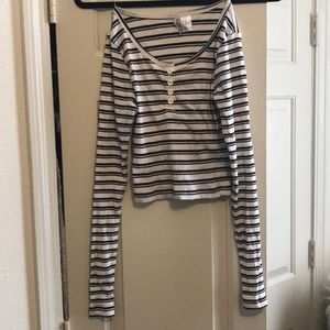 H&M Long Sleeve Striped Crop Top. XS